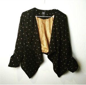Mine polka dot M asymmetric ruched sleeve cardigan